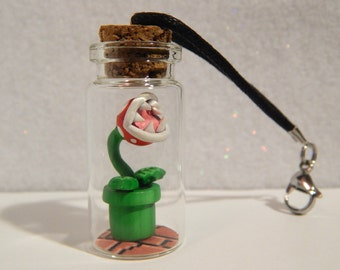 Polymer Clay Super Mario Piranha Plant In A Glass Bottle, Polymer Clay Glass Bottle