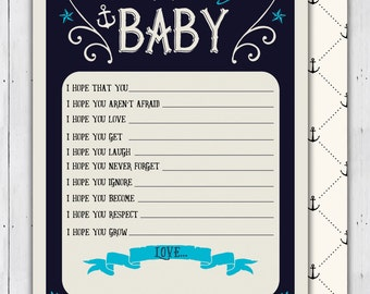 Nautical Baby Shower, baby wishes, well wishes - Ahoy It's A Boy - Coed shower - Baby Shower invitation, couples shower, shower game