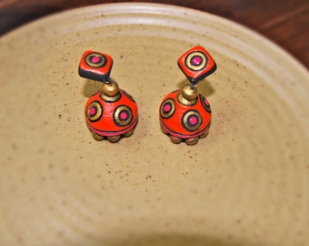 Orange and pink terracotta jhumkas with stud