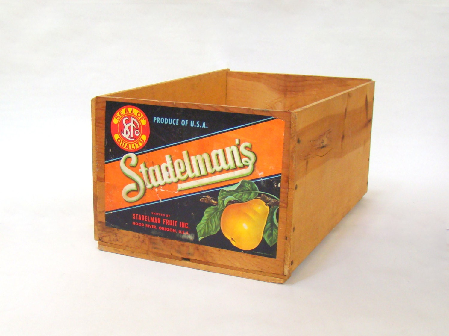Vintage wooden crate fruit crate wood crate stadelman 39 s for Wooden fruit crates