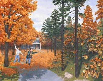Mind-Twisting-Optical-Illusion-Paintings-By-Rob-Gonsalves Reprint of Autumn Children Playing  Art for Living Room or Den Vintage Art Decor