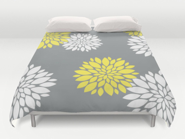 Grey Yellow Duvet Flower Duvet Cover Modern Bed Cover King