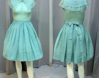 Vintage 1950's Teal Day Dress with Sailor Collar by Doris Dodson