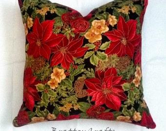 Christmas Decor - Poinsettia Pillow Cover - Red Christmas Pillow Cover - Red Holiday Pillow Cover - Christmas Pillow - Epsteam