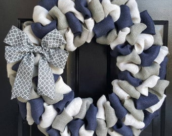Front Door Wreath, Everyday Wreath, Fall Burlap Wreath, Navy Blue, White, & Gray Burlap Wreath with Gray Quatrefoil Bow