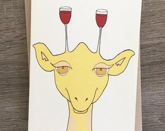 Tipsy Giraffe - Wine Giraffe Card - Just Because