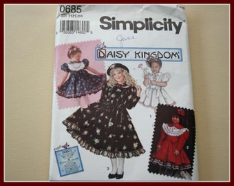 DAISY Kingdom Girls Dress Sewing Pattern, UNCUT Simplicity Sewing Pattern #0685, sizes 3, 4, 5, 6, Christmas Dress, Party Dress