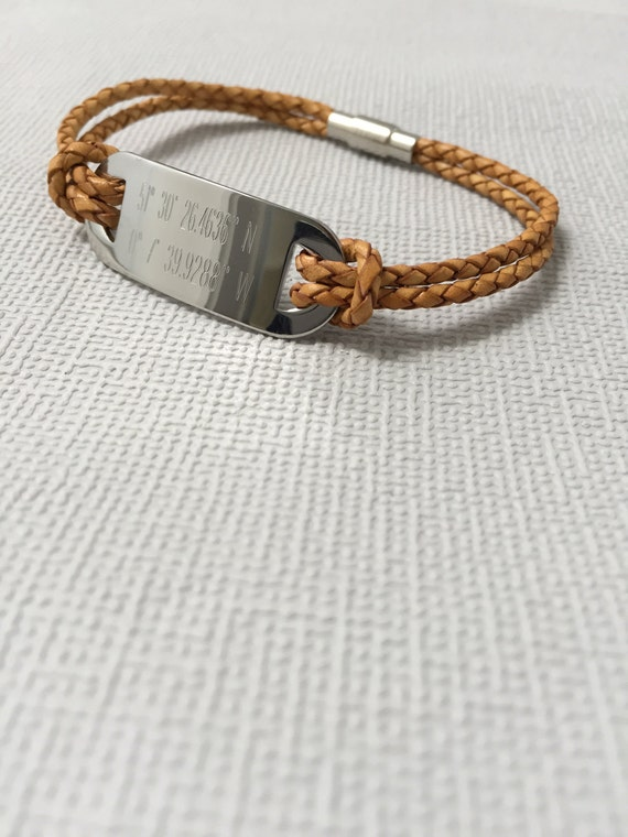 mens leather bracelet personalized with by myloveandsoul