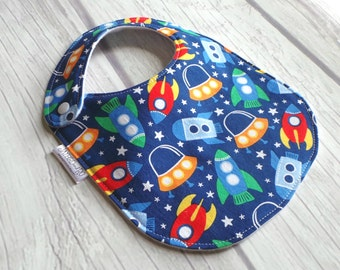 Outer Space Baby Bib / Rocket Ship Baby Bib / Drool Bib / Organic Cotton Fleece / Side Snap Bib / Future Astronaut