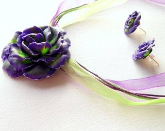 Rose pendant Rose purple green lavender Rose Rose necklace polymer clay jewelry gift for her flower jewelry pendant purple floral jewelry