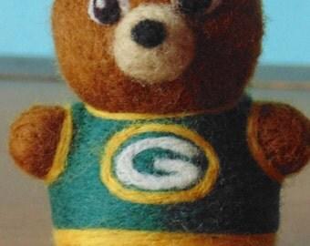 Needle Felted Green Bay Packer Bear