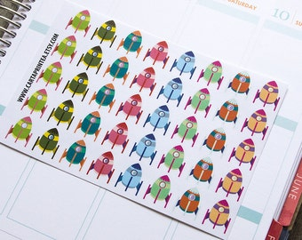 40 rocket stickers, science sticker, school college study, planner stickers, reminder eclp filofax happy planner kikkik