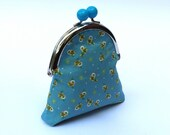 Sweet coin purse, metal frame with blue bobble, blue and yellow floral fabric and coordinating fabric lining