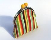 Sweet coin purse, metal frame with yellow bobble, multi-coloured striped fabric and coordinating fabric lining