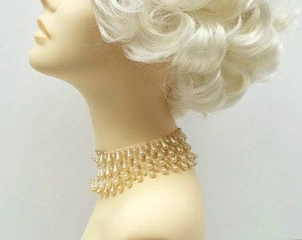 50's Style Short Marilyn Monroe Platinum Blonde Costume Wig. [01-8-Marilyn-613A]