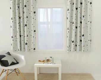 Stars Print Cream Blackout Curtains 1Pair