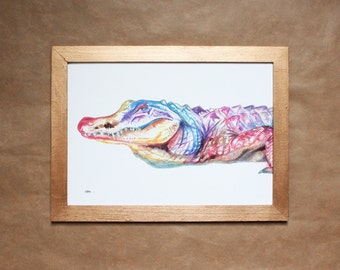 Alligator Watercolour Print ~ giclee print, animal watercolour, alligator print, animal art, illustration, wall decor, original painting