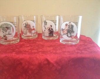 Set of 4 Vintage Saturday Evening Post Glasses