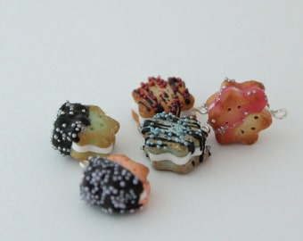 Flower shaped, polymer clay, sandwich cookie charm