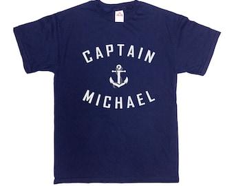 Captain Shirt (Customize Any Name) Sailing Shirt Nautical Anchor TShirt Sailing Boat Shirt Boating Gifts Sailing Gifts Mens Ladies Tee-SA367