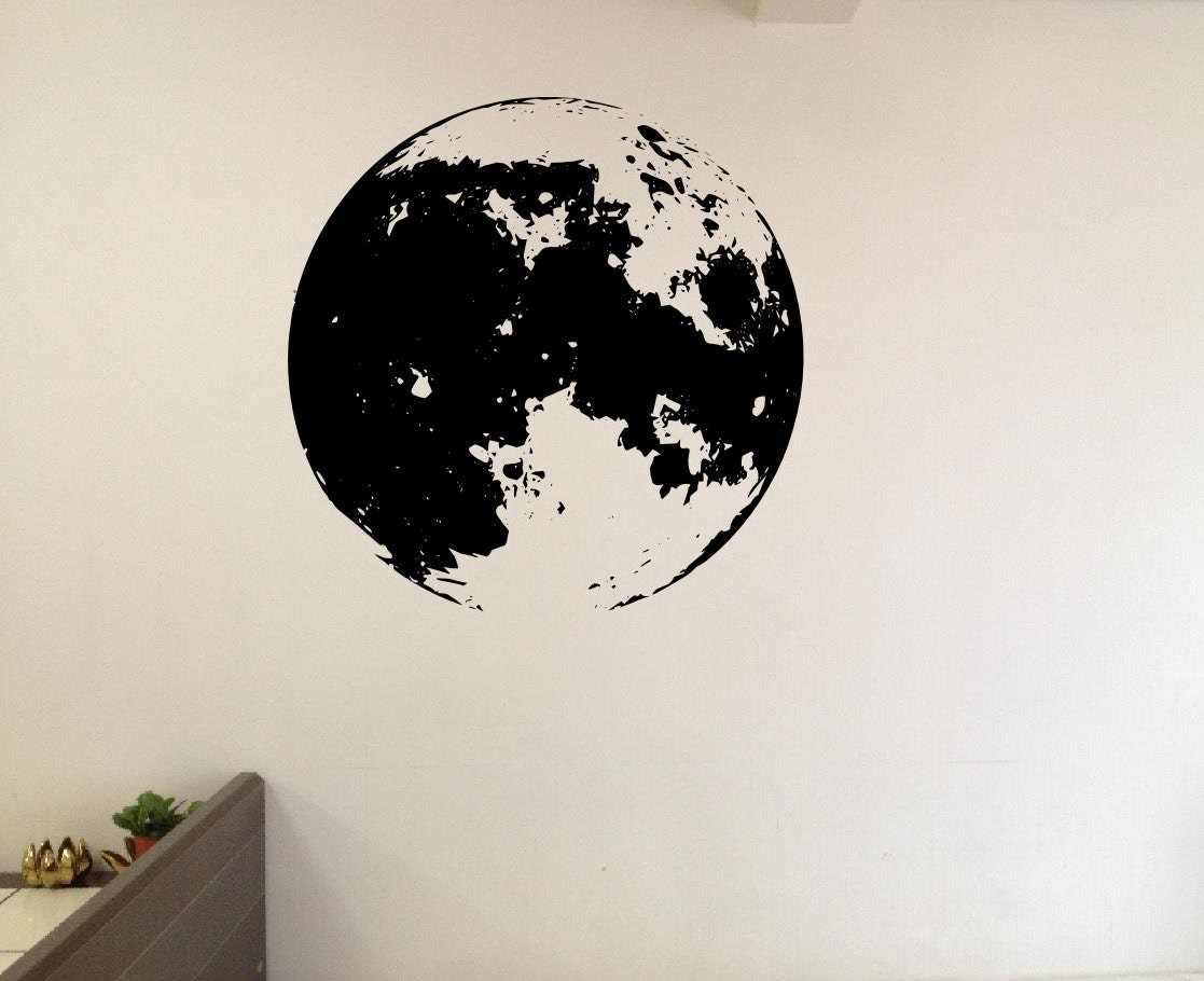 full moon wall decals vinyl decal home sticker living room. Black Bedroom Furniture Sets. Home Design Ideas