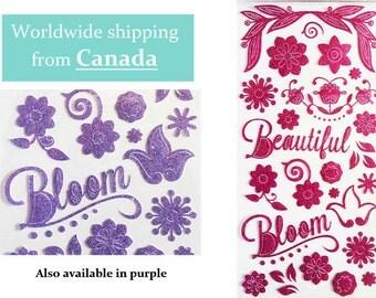 Glittered Flowers Scrapbook Stickers / Planner Stickers