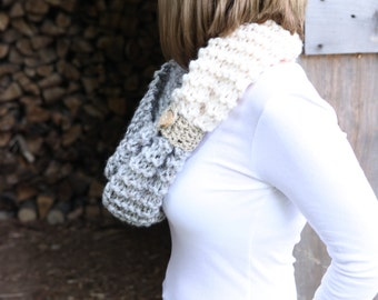 Hand Knit Infinity Cowl THE MANCHESTER in 30 colors Handmade in New Hampshire
