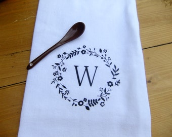 Flour Sack Towel - Personalized Flower Wreath - Soft - Absorbent - CUTE!