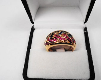 Ruby and Sapphire ring.  Natural Ruby & Sapphire Braided Gold Vermeil Ring