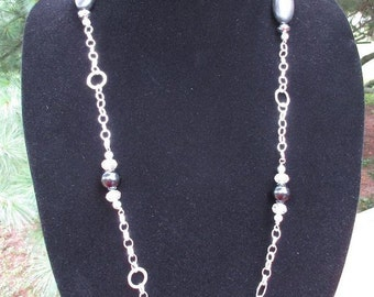 Black with Silver Chain