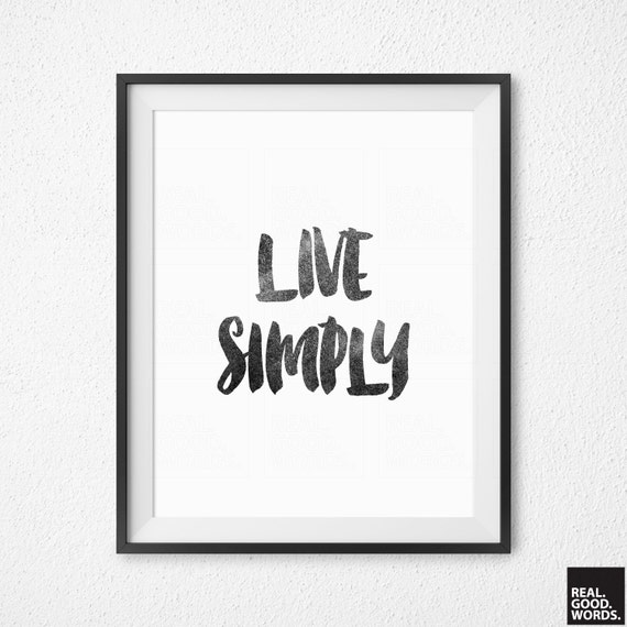 Live simply coworker gift wall art black white home for Live simply wall art