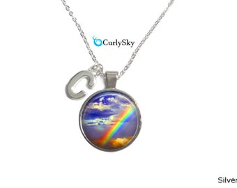 Rainbow Cloud Necklace Rainbows and Cloud Necklace Rainbow Sky Necklace Colorful Rainbow Necklace Cloud Sky Necklace Rainbow Colors Necklace