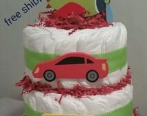 Vehicle diaper cake. Airplane, car bus, honk, honk, beep, beep....