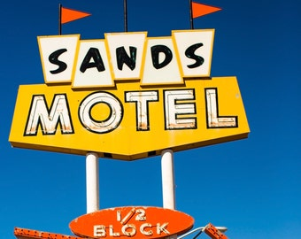 Sands Motel Sign, Route 66, Route 66 Motel Sign, Mid Century Modern, Retro Photography, Vintage Motel Sign, Mad Men Style, Whimsical Decor