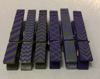 Purple and Silver/Gray Hand Painted Clothespins-6