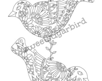 Swing Birds No.1 - Hand Drawn Colouring Page