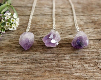 Raw Amethyst Necklace, Rough Gemstone, Sterling Silver Crystal Necklace, Natural Purple Cluster, Point Pendant