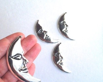 Large Crescent Moon charm. Moon charm 2 charms.
