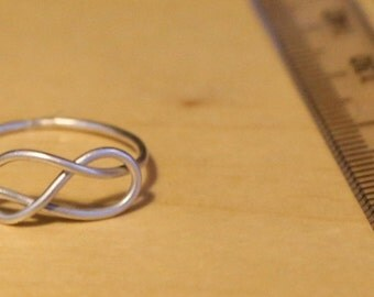 Sterling silver, Infinity knot ring,