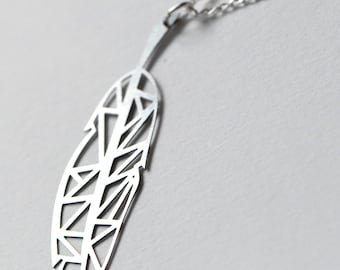 Spirit Feather Pendant in Stainless Steel