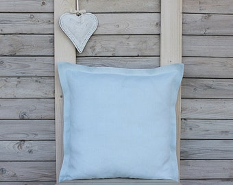 Decorative linen pillow cover with flange. Pale blue. Custom size. Home decor by Linen Sky.