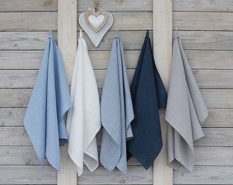 Linen kitchen towels / tea towels. Set of 5. Hand made by LinenSky.