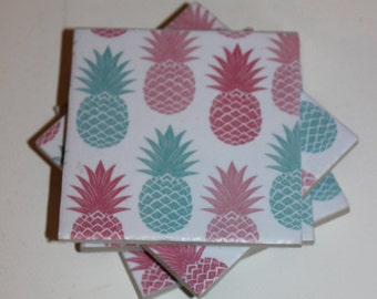 Ceramic tile coasters - Pineapples, set of 4