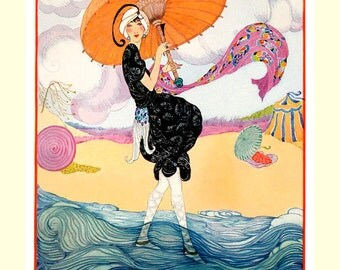 Fashion Vogue  Lady Girl with an Umbrella on a Beach Vintage Poster Repro FREE SHIPPING in USA