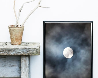 Moon Photography, Moon Print, Printable Art, Minimalist, Moon And clouds, Wall Art, Wall Decor, Instant download, Large wall Print