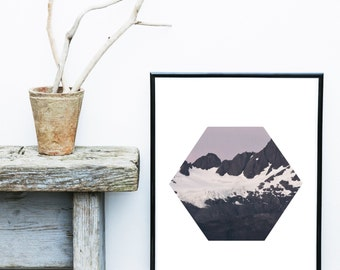 Mountain Print, Printable Art, Mountain Photo, Abstract Photo, Minimalist Print, Snow on Mountains, Wall Art, Wall Decor, Instant download