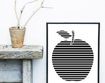 Scandinavian Print, Printable Art, Apple, Mid Century,  Minimalist Art, Modern Wall Art, Wall Decor, Digital Download