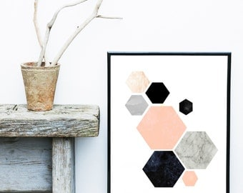Geometrische Art, afdrukbare Art, Hexagon Print, geometrische Print, Scandinavische kunst, Wall Decor, Abstract Art Print, Instant download