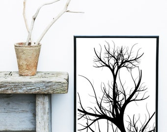 Abstract Photography, Printable Artwork, Tree Photo, Minimalist Print, Instant download,Atmospheric, Wall Art, Wall Decor, Black And White