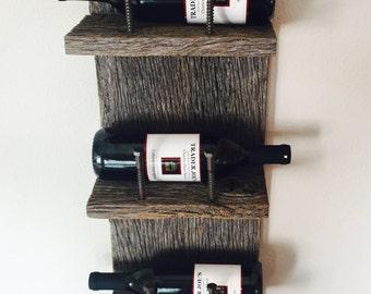 Reclaimed Wood Industrial Wine Rack